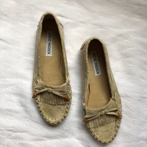Steve Madden Tan Leather Loafers/Slip On Flats